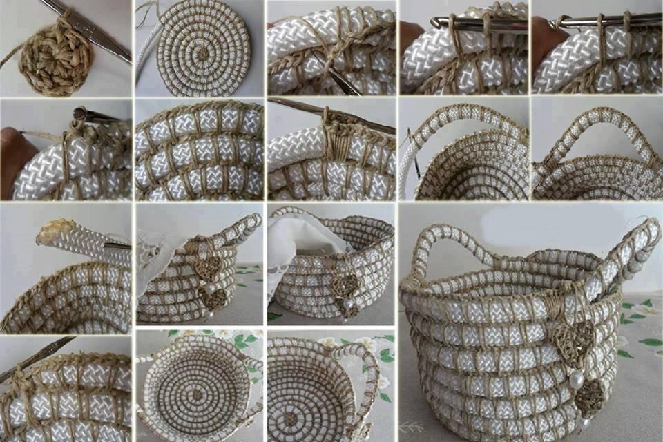 Crocheting Rope : Kordonla Sepet Yap?m?, penye ip sepet, t?? i?i sepet, ?rg? ...