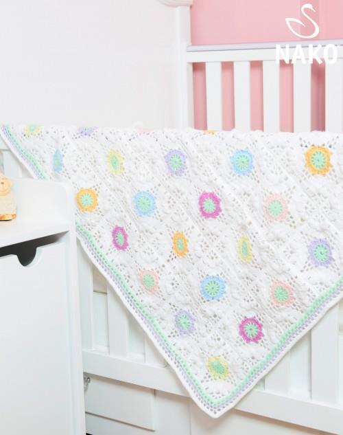 Çiçek Motifli Bebek Battaniyesi Yapımı
