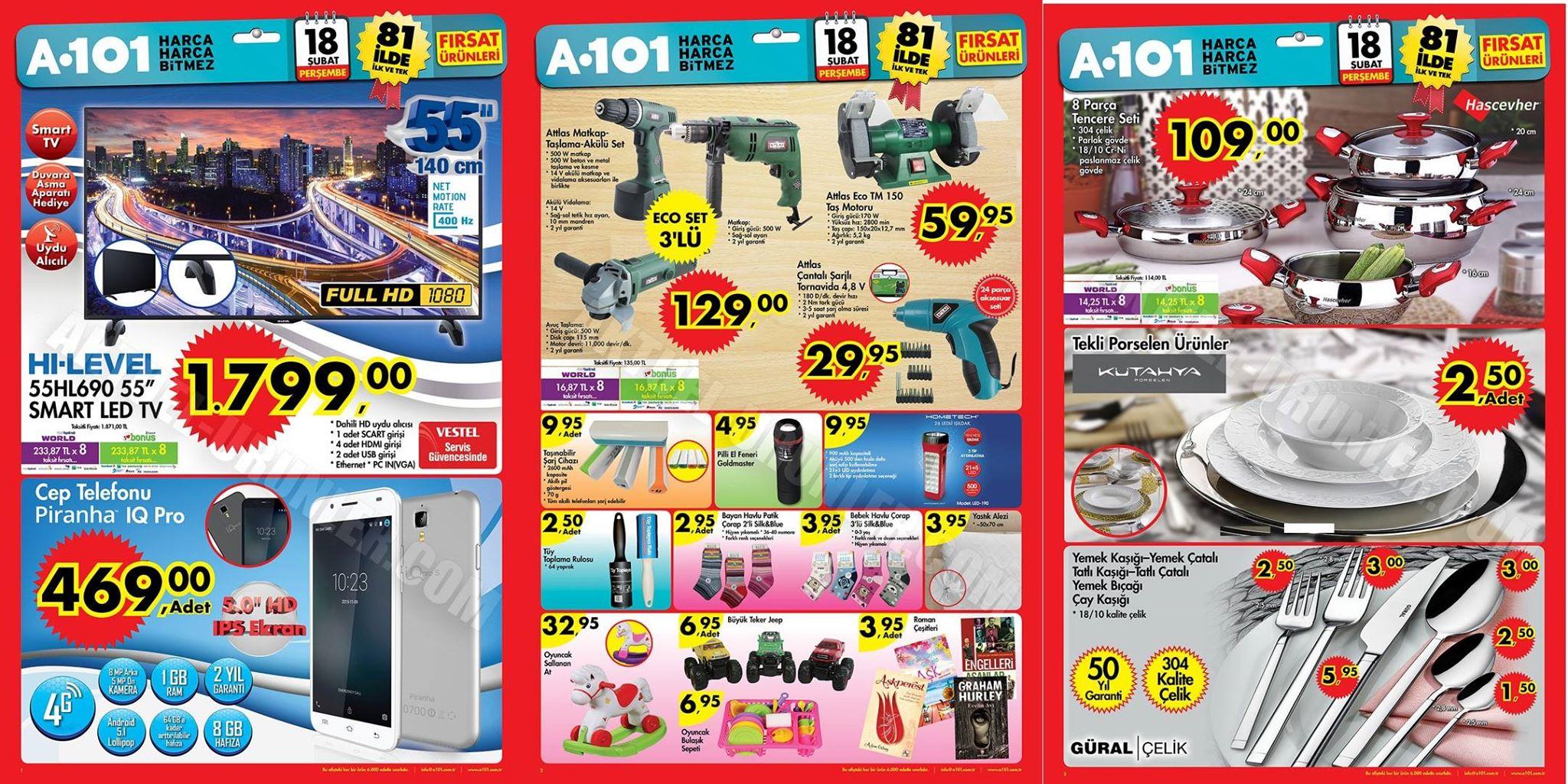A101 18 Şubat 2016 İndirimli Ürünler Broşürü