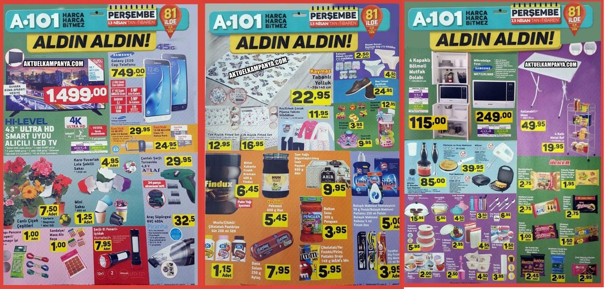 A-101 İndirimli Ürünler Broşürü 13 Nisan Perşembe