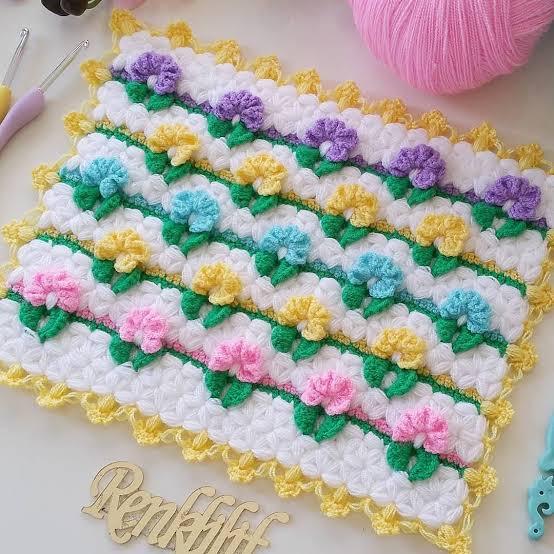 Efsane Renkli Çiçekler Lif Örneği