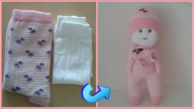 5 Dakikada Çoraptan Bebek Yapılışı