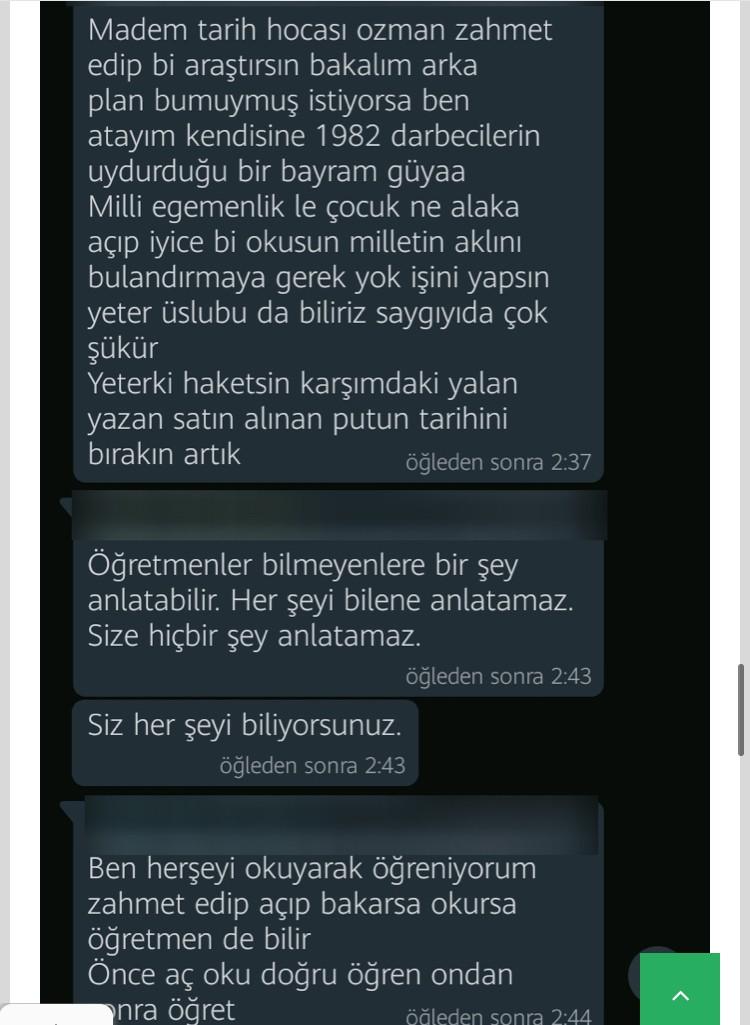 Öğretmenin Atatürk Paylaşımına Veliden Terbiyesizlik